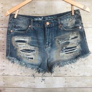 Mossimo Distressed Embroidered Fringe Jean Shorts